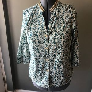 Talbots Button Down Tunic Teal White Beaded Neck L